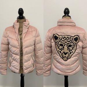 Jackets & Blazers - Leopard Blush Velvet Puffer Jacket